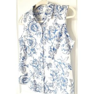 Charter Club Sleeveless Top Floral Blue SIZE 10